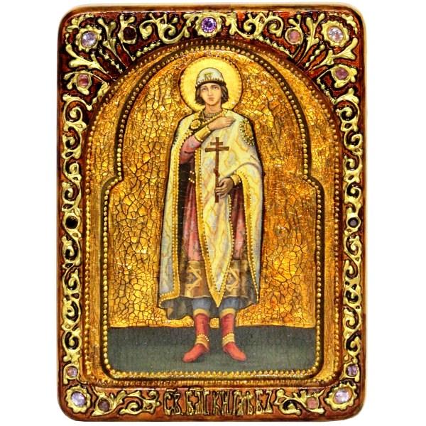 Инкрустированная Живописная икона Святой благоверный князь Глеб (21*29 см, Россия) на натуральном мореном дубе в подарочной коробке