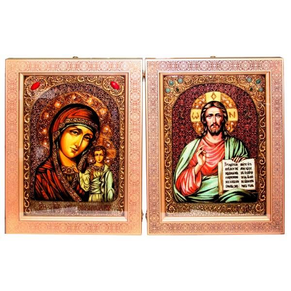 Венчальная пара больших инкрустированных подарочных икон «Казанская икона Божией Матери» и «Господь Вседержитель» на мореном дубе (29*42 см, Россия) в подарочной коробке
