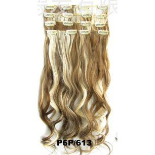 Искусственные волнистые термостойкие волосы на заколках №P6P/613 (55 см) - 7 прядей, 100 гр.