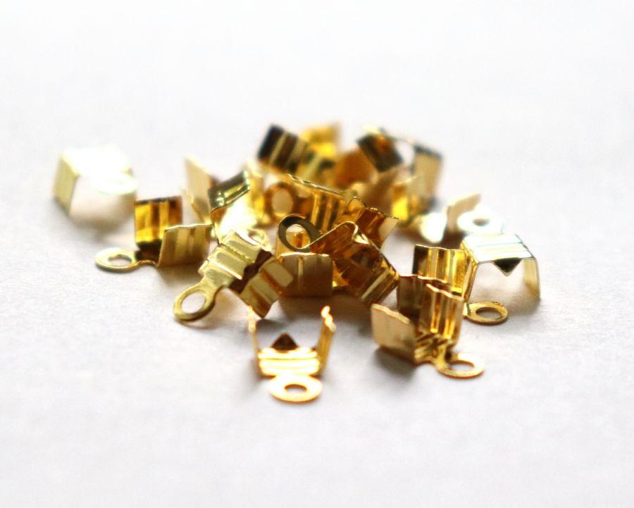 Концевики, 4*4 мм, Золото, 20 шт/упак