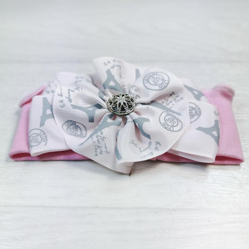 п1084-47 Повязка трикотажная с репсовым бантом Париж розовая
