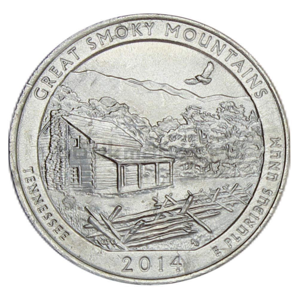 25 центов 2014 США Национальный парк Грейт-Смоки-Маунтинс P