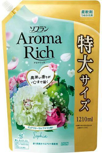 Lion Soflan Aroma Rich Sophia Кондиционер для белья с натуральными ароматическими маслами мягкая упаковка 1210 мл
