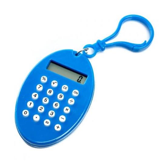 Брелок 8-разрядный калькулятор Овал, цвет синий