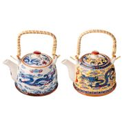 """Чайник заварочный фарфор, 900мл, с бамбуковой ручкой """"Восточный дракон"""""""