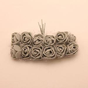 `Цветы из фоамирана с органзой, 25 мм, 11-12 цветков, цвет: серый