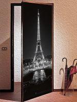 Наклейка на дверь - Париж ночь | магазин Интерьерные наклейки