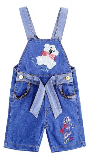 Полукомбинезон джинсовый для девочек Bonito Jeans с мишкой
