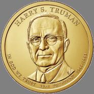 33-й президент США - Гарри Трумен. 1 доллар США 2015 года