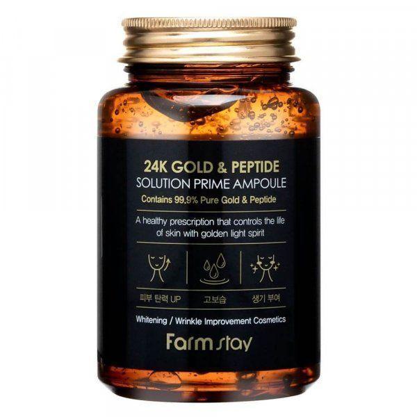 ОМОЛАЖИВАЮЩАЯ СЫВОРОТКА С ЗОЛОТОМ И ПЕПТИДАМИ FarmStay 24K Gold & Peptide Solution Prime Ampoule