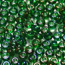 Бисер чешский 51060 прозрачный зеленый радужный Preciosa 1 сорт