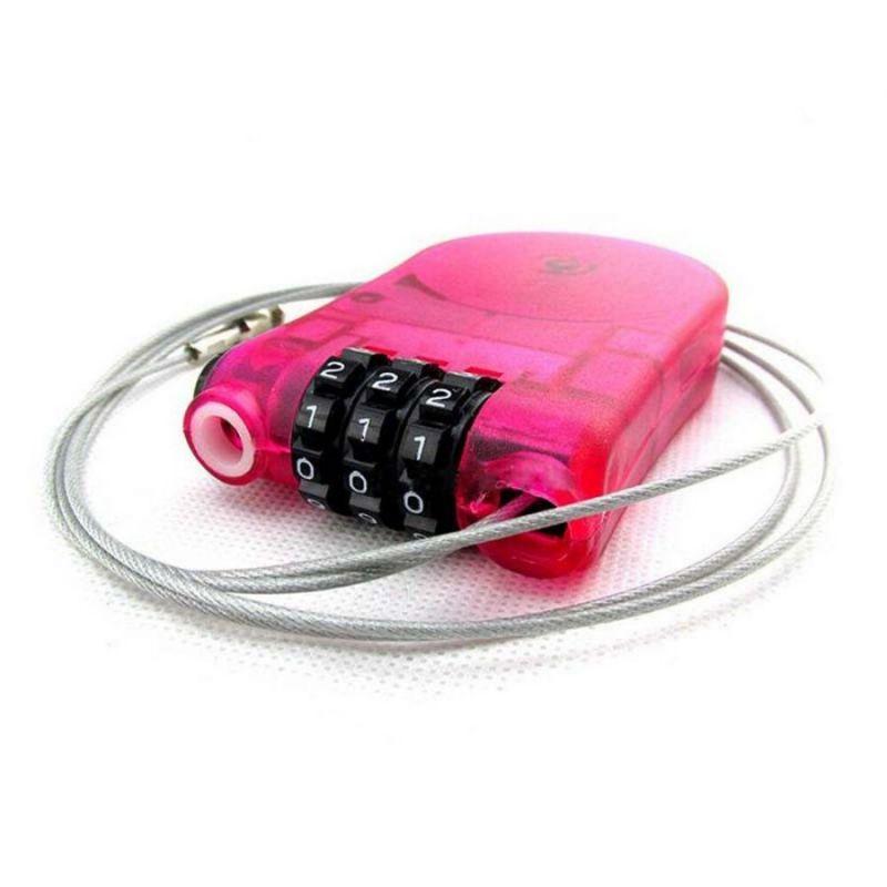 Замок с тросиком с трехзначным цифровым кодом, цвет розовый