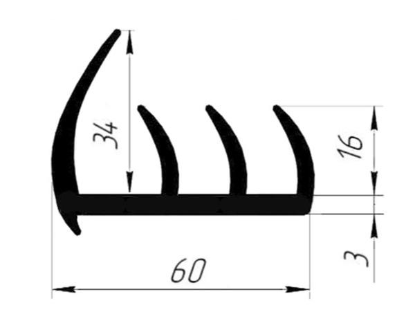 Уплотнитель резиновый 60 мм (3 лепестка) (Арт.: 58060)