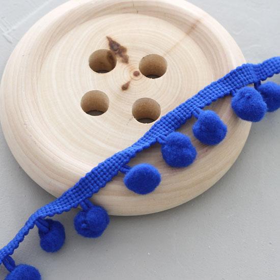 Тесьма с помпонами , синяя