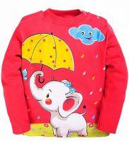 Лонгслив для девочек 1-4 лет Bonito kids малиновый со слонёнком