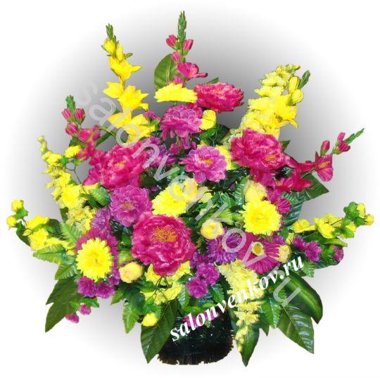 Траурная корзина из живых цветов N17, РАЗМЕР 60см, 80см,90 см