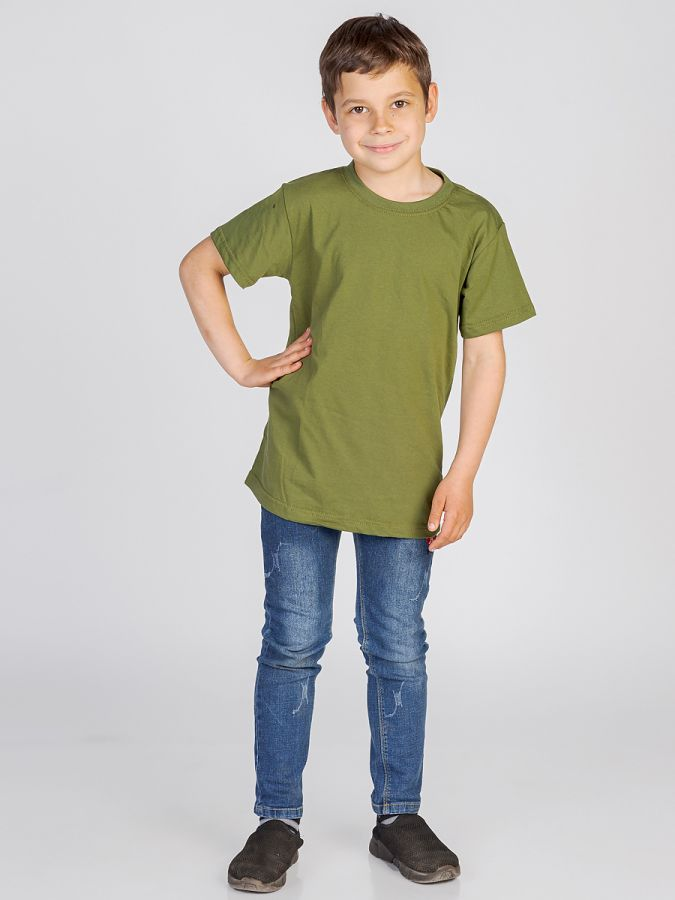 футболка детская без принта Хаки