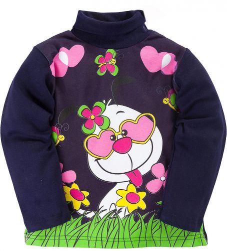Водолазка для девочек 1-4 лет Bonito темно-синяя с зайчонком