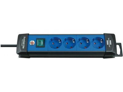 Удлинитель Brennenstuhl Premium-Line с выключателем, 4 розетки; 3 метра, черный/синий, кабель H05VV-F 3G1,5 (1951340100)