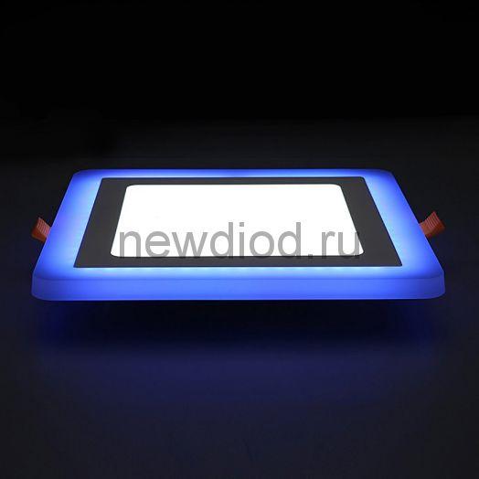 Светильник встраиваемый Sirius 6W+3W-420Lm 105/145mm синий КВАДРАТ Oreol