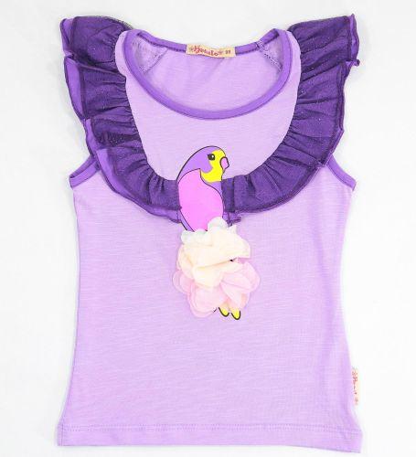 Футболка для девочек 3-7 лет Bonito сиреневая с попугаем