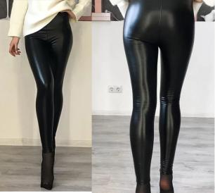 штаны иск. кожа, высокая талия, размеры S M L, модель 516