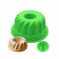 Силиконовая форма для выпечки кексов с отверстием, цвет зеленый