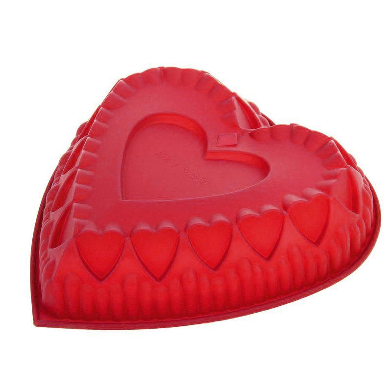 Силиконовая форма для выпечки Сердце (цвет красный)