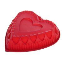 Силиконовая форма для выпечки Сердце, цвет красный