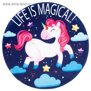 """Ковер детский """"Life is magical"""" d = 90 см, велюр,поролон 400г/м2   3539114"""