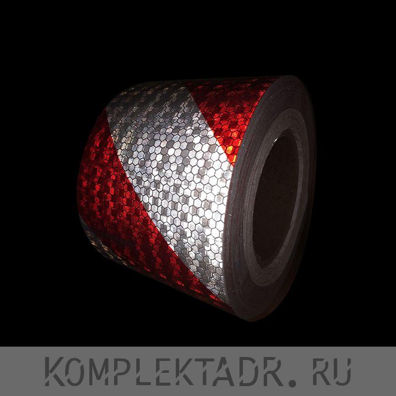 Светоотражающая лента 0,1х25 м красно-белая диагональная (Арт.: 22232)
