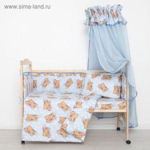 """Комплект в кроватку """"Спящие мишки"""" (7 предметов), цвет голубой 715/1 2070496"""