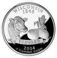 25 центов США 2004г - Висконсин, UNC - Серия Штаты и территории