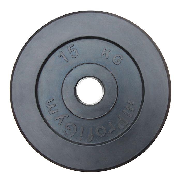 Диск «Profigym» тренировочный обрезиненный 15 кг черный 51 мм (металлическая втулка)