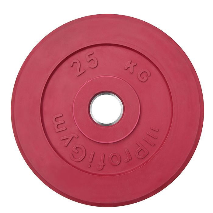Диск «Profigym» тренировочный обрезиненный 25 кг цветной 51 мм (металлическая втулка)