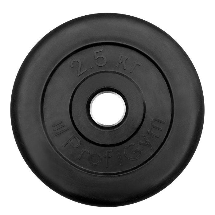 Диск «Profigym» тренировочный обрезиненный 2,5 кг черный 26 мм (металлическая втулка)