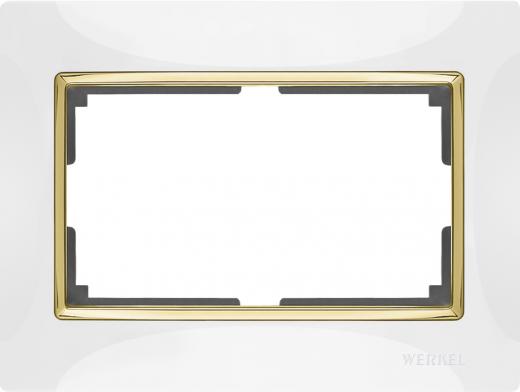 Рамка для двойной розетки Werkel WL03-Frame-01-DBL-white Белый / золото