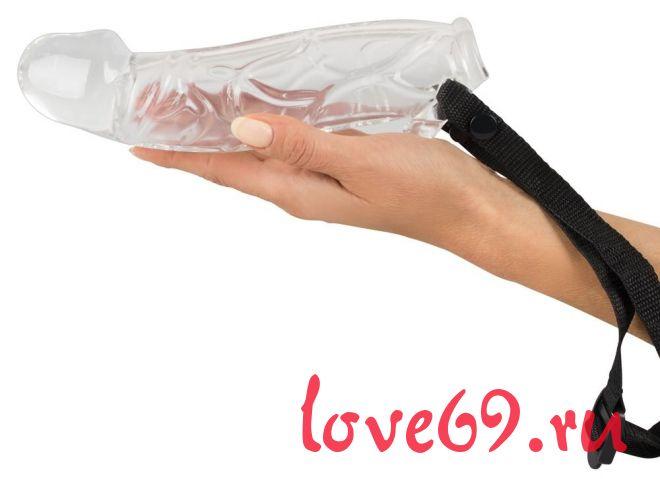 Прозрачный фаллопротез с фиксацией ремешками - 21,4 см.