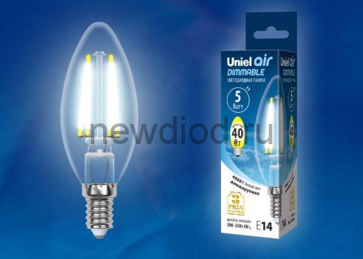 Лампа светодиодная LED-C35 5W/NW/E14/CL/DIM Air 4000К прозрачная Uniel
