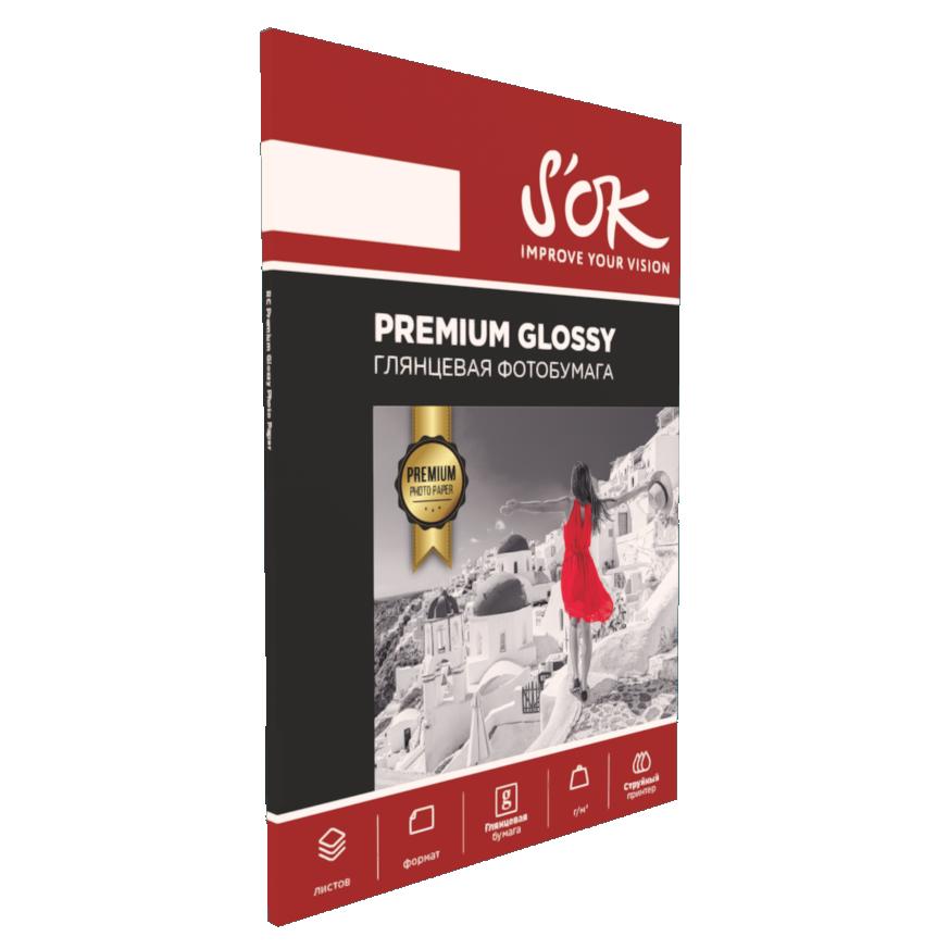 Фотобумага Premium S'OK глянцевая А6, 240г/м2, 50 листов