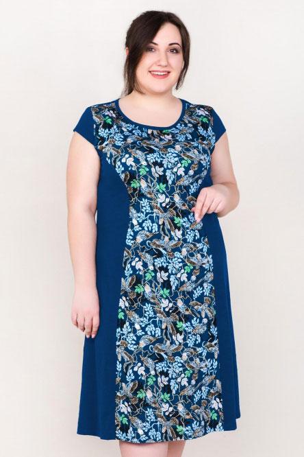 Платье домашнее арт.0090-54 индиго, кулирка