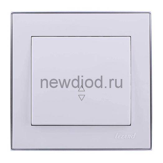 RAIN Выключатель проходной белый с  бок. вст. хром Lezard