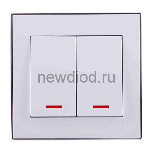 RAIN Выключатель двойной с подсветкой белый с  бок. вст. хром Lezard