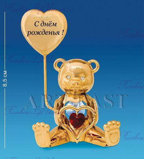 """Фигурка мишка с днем Рождения с камнями """"Swarovski"""""""