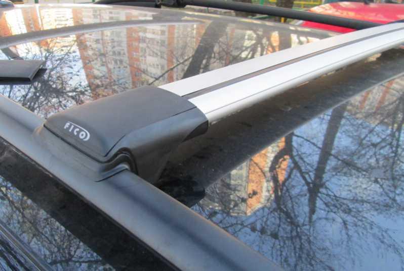 Багажник на рейлинги Kia Rio X-line, FicoPro R-44, серебристый, крыловидные аэродуги