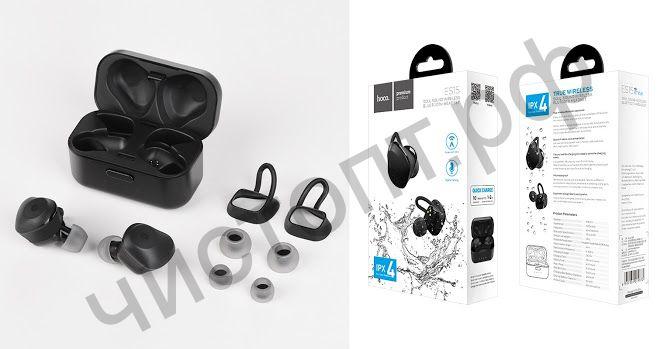 Bluetooth гарнитура стерео HOCO ES15, Soul sound, влагозащищенные, IPX4, цвет: чёрный вакуум