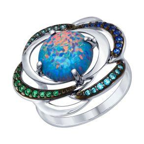 Кольцо из серебра с синим опалом и зелеными и синими фианитами 83010044 SOKOLOV