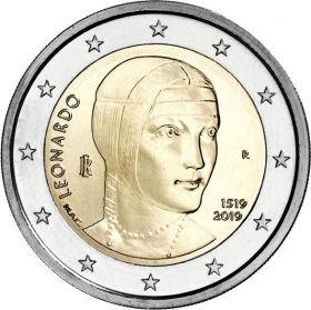 500 лет со дня смерти Леонардо да Винчи 2 евро Италия 2019
