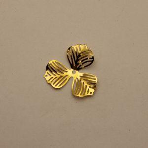 """Декоративный элемент """"филигрань"""" цветок 33 мм, цвет золото (1уп = 50шт), Арт. ФЛ0027-2"""