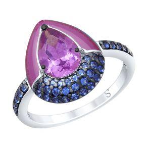 Кольцо из серебра с эмалью и сиреневым ситаллом и фианитами 92011671 SOKOLOV